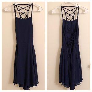 LULU'S Good Deeds Lace-Up Dress, Navy - Small